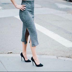 Grey Rib Knit Midi Skirt with Slit